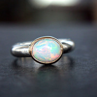 Opal Ring 14k Yellow Gold Sterling Silver Ethiopian Opal Engagement Ring Size 6-7 Gem Ring Silversmith Goldsmith