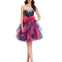 Grace Karin Strapless Organza Sequins Short Ball Cocktail Dress Lace Up Ball Mini Gown Evening Prom Party Dress vestidos coctel CL4976