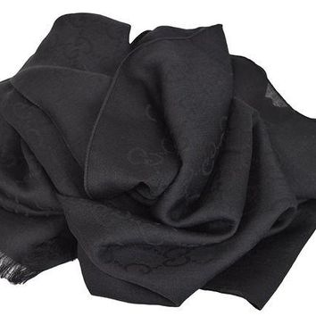 ONETOW Gucci Women's Wool Silk GG Guccussima Black Scarf