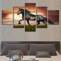Unframed Running Wild Horse Modern Home Wall Decor Canvas Picture Art HD Print Painting On Canvas Artworks 5 Panels