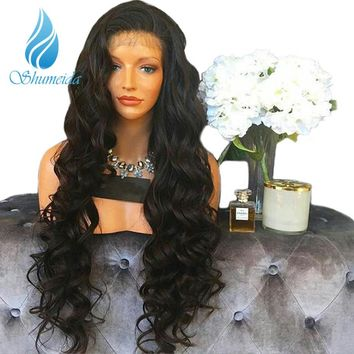 SHUMEIDA 250 Density Lace Front Human Hair Wigs Pre Plucked Brazilian Human Lace Front Wig With Baby Hair For Women Remy Hair