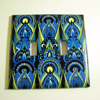 Double Light Switch Cover - Light Switch Plate Red Blue Green  Ikat Tribal