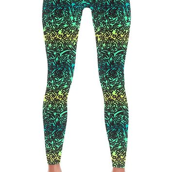 Women's Ombre Squiggles Print Leggings