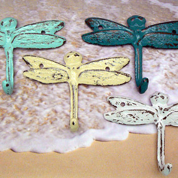 Dragonfly Cast Iron Mini Set 4 Wall Hooks Shabby Style Chic Beach Blue White Lagoon Teal Off White Leash Key Potholder For Potting Shed Pool