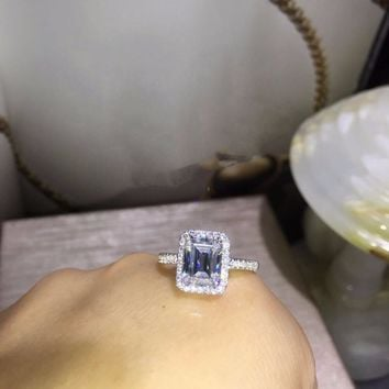 TR012  925 sterling silver 3 Carat nscd Simulated Gem Engagement  Wedding  Ring