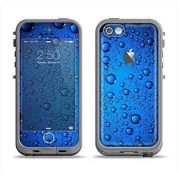 The Glowing Blue Vivid RainDrops Apple iPhone 5c LifeProof Fre Case Skin Set