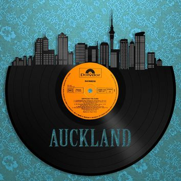 Auckland New Zealand Art, Islands Wall Art, New Zealand Decor, Auckland Skyline, Vintage Unique, Record Redone, Minimalist Gifts For Mom