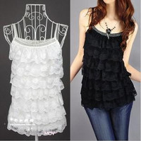 Women's Lace Camis Vest Tops Fashion Girls' Ladies' Lace Dress Ladies' Sleeveless Casual Dress 9 Colors Free Shipping