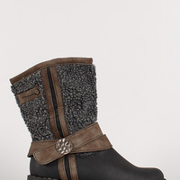 Shearling Leatherette Mid Calf Boot