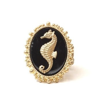 Seahorse Ring Adjustable Stretch Band Gold Tone Black RJ00 Coral Reef Ocean Mermaid Beach