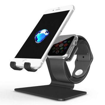VONL8T Apple Watch Stand, OMOTON 2 in 1 Universal Desktop Cell Phone Stand and Apple Watch Stand, Advanced 4mm Thickness Aluminum Stand Holder for iPhone and Apple Watch (Both 38mm & 42mm), Black