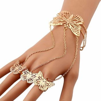 Simple Hollow Butterfly Bangle Bracelet Finger Ring Bracelet Chain GD