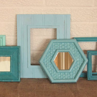 Picture Frame and Mirror Collection in Turquoise, Light Blue, Aquamarine, and Beach Glass Green