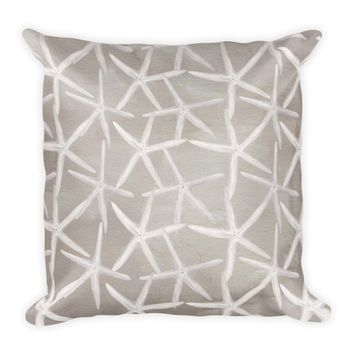 Neutral Watercolor Starfish Pattern Pillow