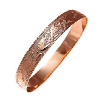 14K Pink Rose Gold Custom Made Hawaiian Heirloom Sea Life Honu Dolphin Quilt 10mm Bangle