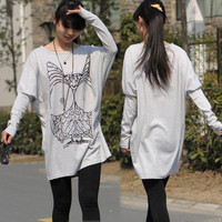 Casual Womens Grey Cartoon Owl Loose Hip-length Boat Neck T-shirt Tee Top