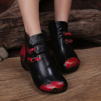 2017 Ethnic Style Women Boots Genuine Leather Mixed Color  Low Heels Women Ankle Boots