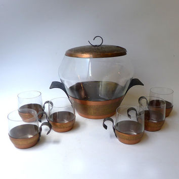 ON SALE Vintage 1950s 1960s mid century modern Eames era copper and glass punch set