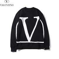 Valentino Autumn And Winter New Fashion Letter Print Women Men Leisure Long Sleeve Top Sweater Black