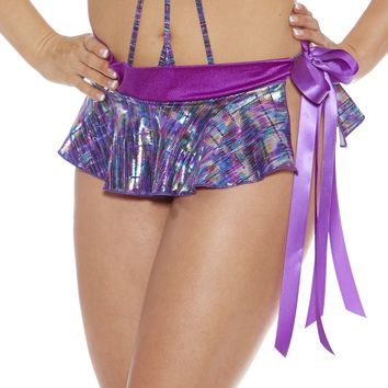 Purple Foil Pleated Rave Micro Skirt with Bow