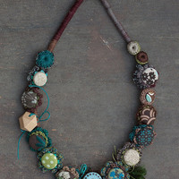 Long rustic necklace in brown green and blue Fiber statement jewelry, OOAK
