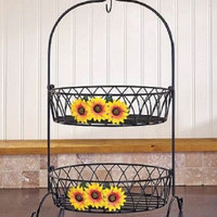 Fruit Basket Country Kitchen Decor Iron Sunflower Farmhouse Rustic Primitive NEW