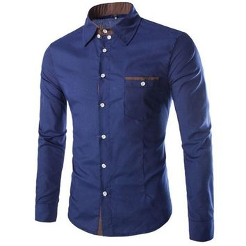 PODOM Casual Men's Long-Sleeve Slim Fit Button-Down Shirt