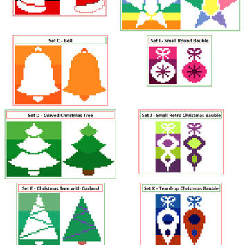 2 Sets of 2 Christmas cross stitch patterns. Cute, modern seasonal cross stitch patterns. Contemporary cross stitch design for the holidays.
