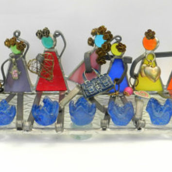 FLOWERS GIRLS Stained glass handmade menorah by dalitglass on Etsy