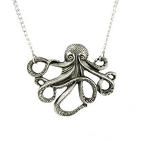 Cthulhu Octopus Necklace Gothic Jewelry H.P. Lovecraft Occult Horror Pendant