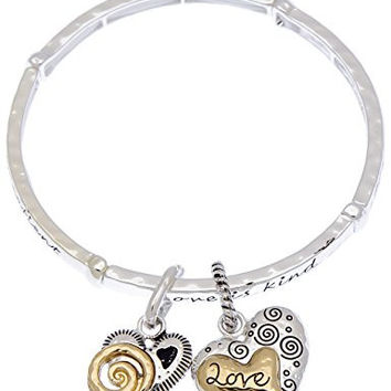 Love is patient kind never ends organically hammered texture elastic heart charm bracelet