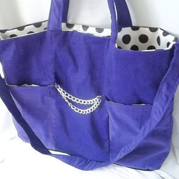 Purple tote bag  purple corduroy with polka dot tote by ACAmour
