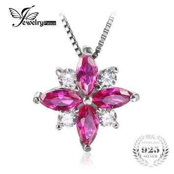 JewelryPalace Flowers 0.85ct Created Ruby Pendant Necklace 925 Sterling Silver Romantic Jewelry Not Include A Chain Pendant