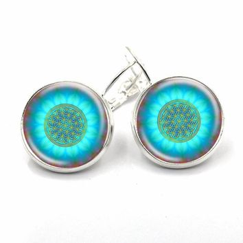 Blue Flower Of Life Logo earrings / Yoga glass cabochon drop earrings