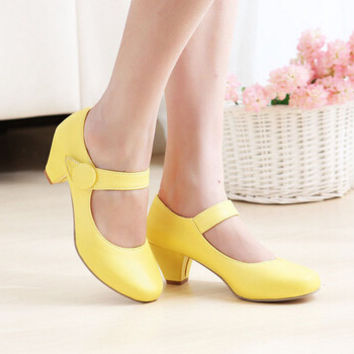 Women new fashion spring summer low thick heels round toe shallow mouth preppy style shoes large plus size 40-43