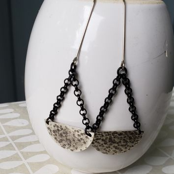 Crescent Moon Dangle Earrings in Black and Silver