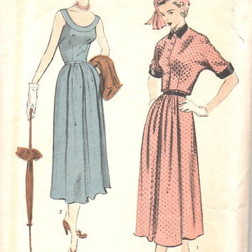 1940s Advance 5471 Sewing Pattern Garden Tea Dress Jacket Scoop Neck Band Collar Invert Pleat Skirt Cropped Bolero Fitted Bodice Bust 34