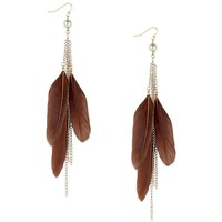 Rich brown feather and chain tassel earring