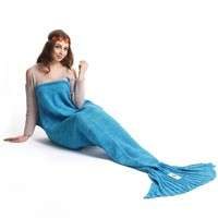 Soft Comfortable Knitted Sofa Bedding Mermaid Tail Blanket Home Gift