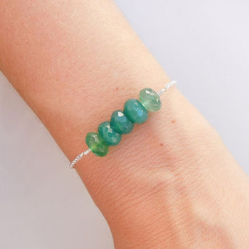 Sea Green Chalcedony Bracelet in Sterling Silver