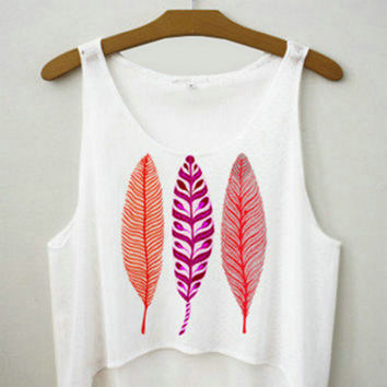Women's Indian Feathers Printed Cute Sexy Girl Cropped Sports Summer Harajuku Style Camisole Youth White Tank Top Crop Top