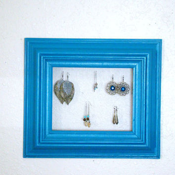 Beautiful Teal Revamped and Repurposed solid wood vintage frame made modern and into an earring organizer/display