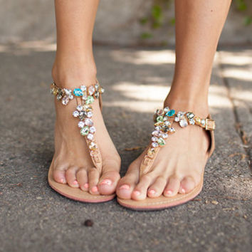 Gemstone Sandals in Light Tan
