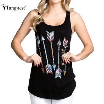 TANGNEST Women Basic Tank Tops 2017 European Summer Loose Arrow Pattern Sleeveless O-Neck Cropped Feminino WTN176