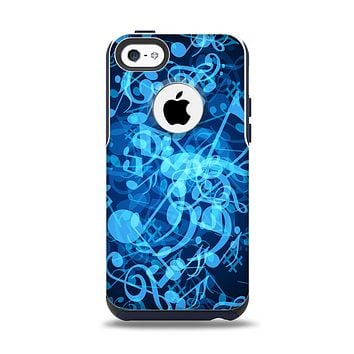 The Glowing Blue Music Notes Apple iPhone 5c Otterbox Commuter Case Skin Set