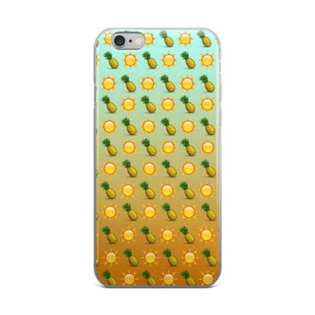 Pineapple Sun Emoji Collage Teen Cute Girly Girls iPhone 4 4s 5 5s 5C 6 6s 6 Plus 6s Plus 7 & 7 Plus Case