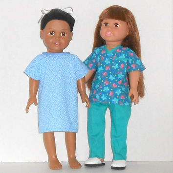 American Girl Doll Clothes Teal Medical Scrubs for Doctor or Nurse and Patient Hospital Gown