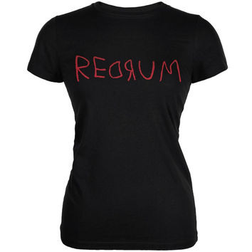 Halloween Horror Redrum Black Juniors Soft T-Shirt