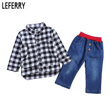2017 New Autumn Kids Clothes Baby Boys Clothing Sets Plaid Shirt + Jeans Toddler Boys Clothing Set Baby Boys Outfits Boutique
