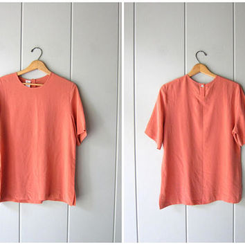 90s Silk Top CORAL ROSE Modern Silk Blouse Boxy Silk Top Short Sleeve Casual Silk Blouse Boxy Crop Top Minimal Silk Tee Womens Medium Large